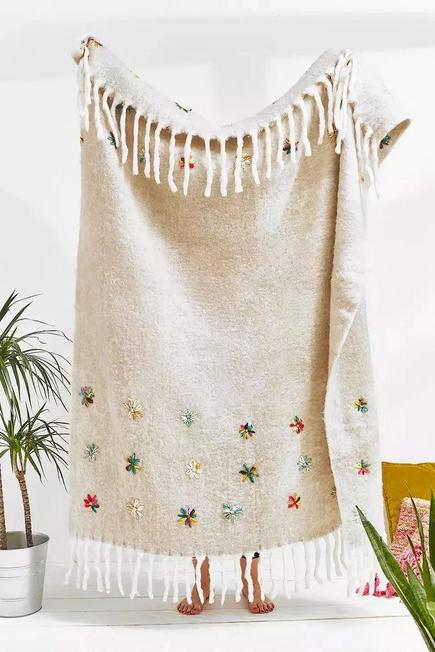 Urban Outfitters - Grey Embellished Flower Throw Blanket