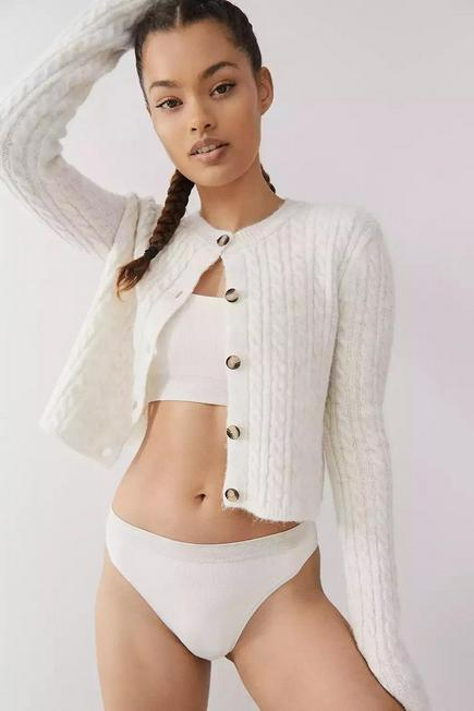 Urban Outfitters - Neutral Out From Under Markie Seamless Ribbed Knickers, Women