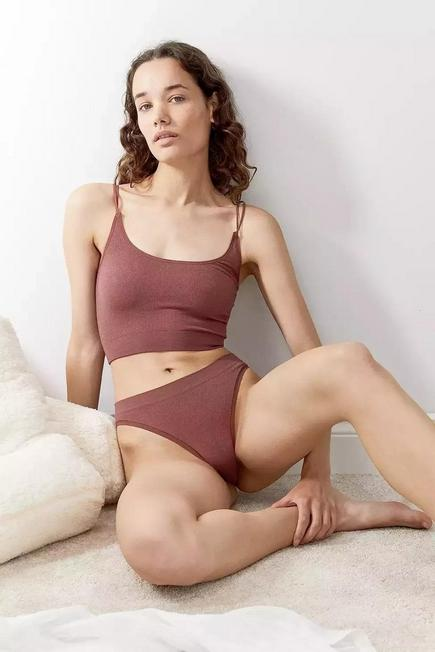 Urban Outfitters - Cocoa Out From Under Markie Seamless Ribbed Knickers, Women
