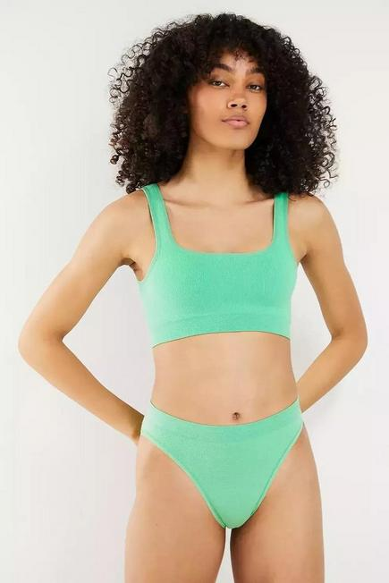 Urban Outfitters - Turquoise Out From Under Markie Seamless Ribbed Knickers, Women