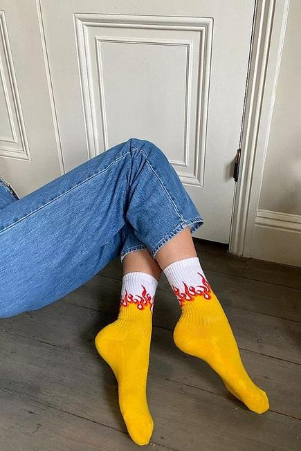 Urban Outfitters - White UO Flame Socks, Women