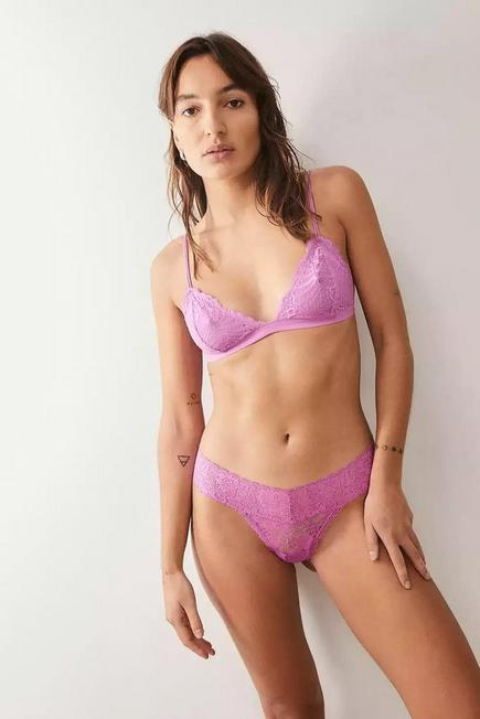 Urban Outfitters - Pink Out From Under Lace Triangle Bra, Women