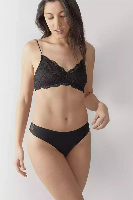 Urban Outfitters - Black Out From Under Nina Laser-Cut Lace-Back Thong, Women