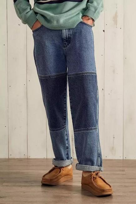 Urban Outfitters - Blue BDG Blue Panel Louis Skate Jeans, Men