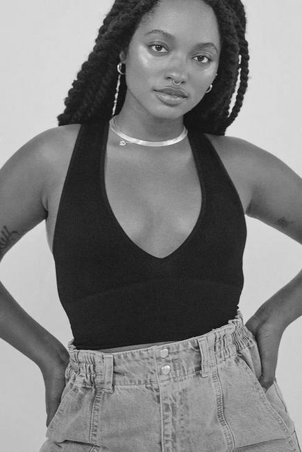 Urban Outfitters - Black UO Josie Ribbed V-Neck Vest, Women