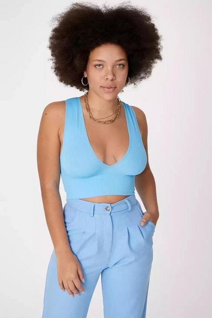 Urban Outfitters - LT Blue UO Josie Ribbed V-Neck Vest, Women