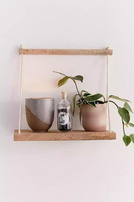 Urban Outfitters - Neutral Asher Rope Hanging Wall Shelf