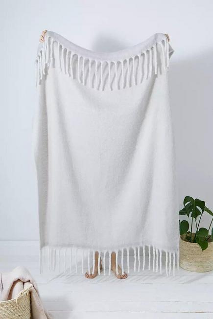 Urban Outfitters - Grey Cosy Light Grey Throw Blanket