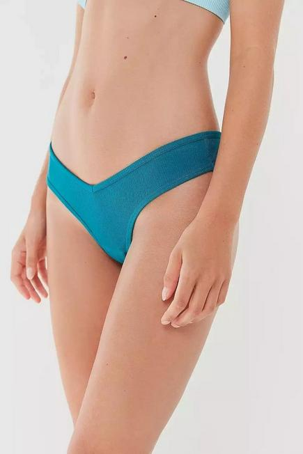 Urban Outfitters - Blue Out From Under Ruby Ribbed V Thong, Women