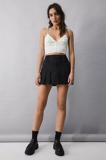 Urban Outfitters - White UO Lolly Satin Tie-Shoulder Top, Women