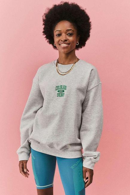 Urban Outfitters - Light Grey UO Colorado Springs Berry Crew Neck Sweatshirt, Women