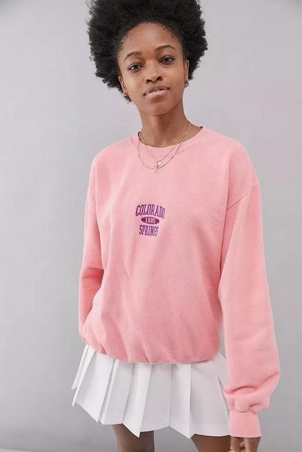 Urban Outfitters - Rasp UO Colorado Springs Berry Crew Neck Sweatshirt, Women