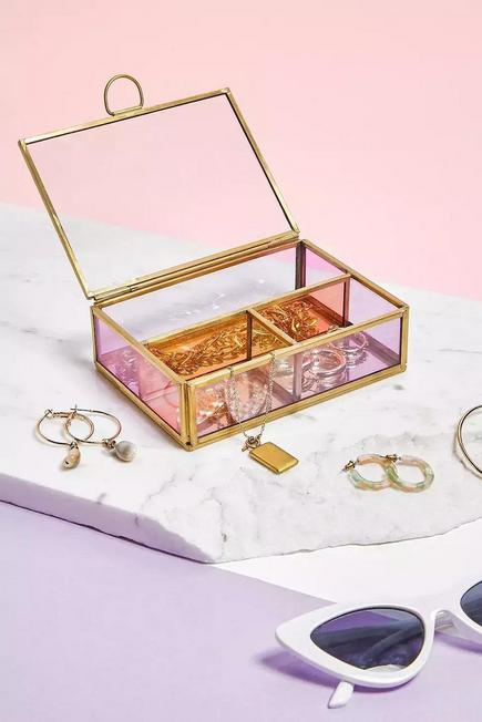 Urban Outfitters - Pink Mini Coloured Glass Jewellery Box