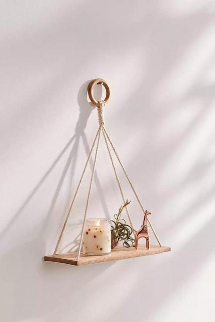 Urban Outfitters - White Elie Macrame Hanging Shelf