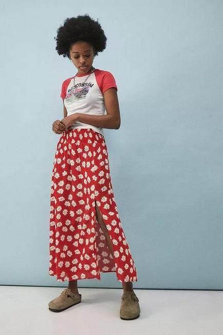 Urban Outfitters - Red UO Red Floral Print Daisy Midi Skirt, Women