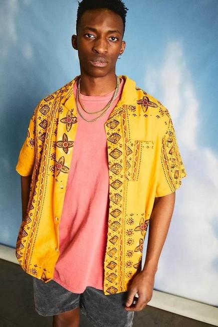 Urban Outfitters - Assorted UO Malik Tile Linen Shirt, Men