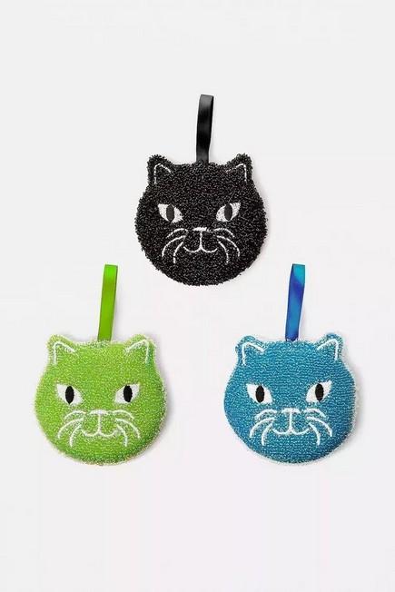Urban Outfitters - ASSORT Kikkerland Set of 3 Cat Scrub Sponges