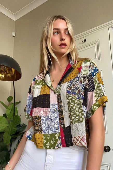 Urban Outfitters - Green UO Gracie Patchwork Button-Through Shirt, Women