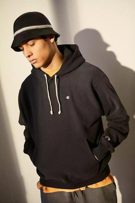 Urban Outfitters - Black Champion UO Exclusive Washed Out Black Hoodie, Men