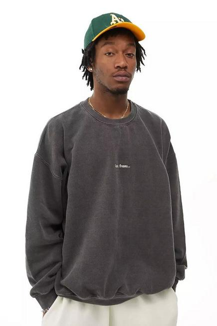 Urban Outfitters - Black iets frans... Washed Crew Neck Sweatshirt, Unisex