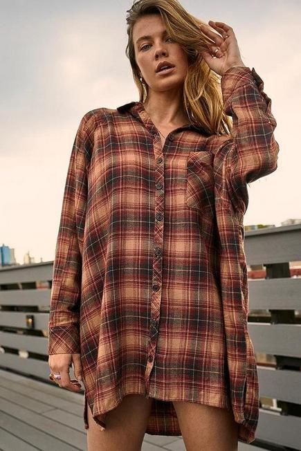 Urban Outfitters - Brown UO Brown Ashley Check Shirt Dress, Women