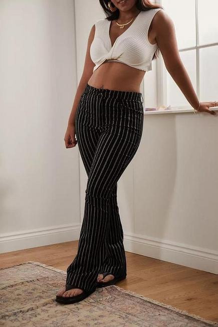 Urban Outfitters - Black Urban Outfitters Archive Pinstripe Flare Trousers, Women