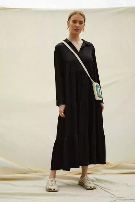 Urban Outfitters - Black BCC Dye UO Exclusive Midi Shirt Dress, Women