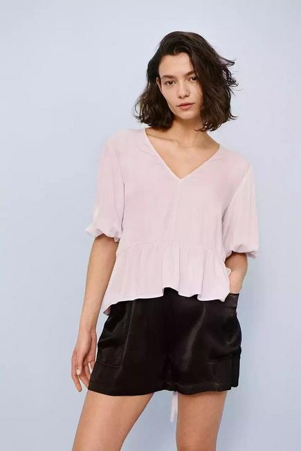 Urban Outfitters - Lilac BCC Dye UO Exclusive Tie-Back Smock Blouse, Women