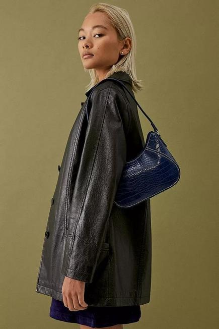 Urban Outfitters - NAVY UO Yas Contrast Stitch Faux Croc Shoulder Bag