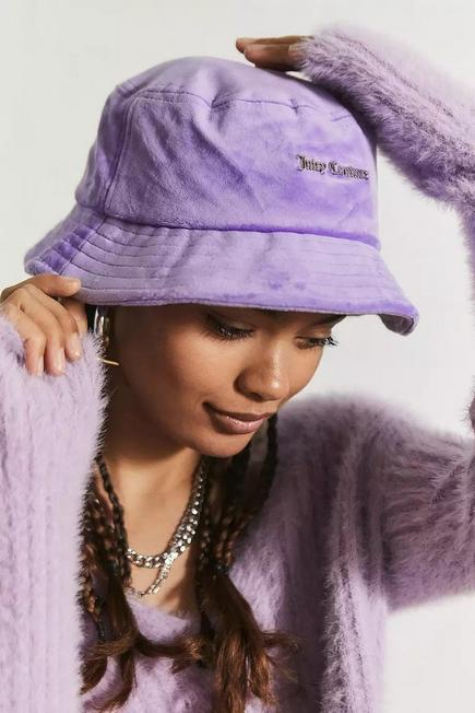 Urban Outfitters - Violet Juicy Couture Velour Bucket Hat, Women