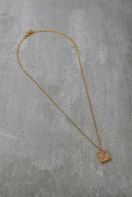 Urban Outfitters - Gold Square Pendant Chain Necklace, Men
