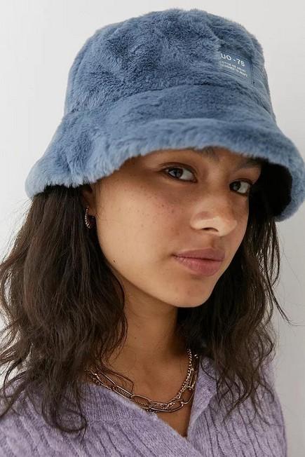 Urban Outfitters - Blue UO Faux Fur Oversized Bucket Hat, Women