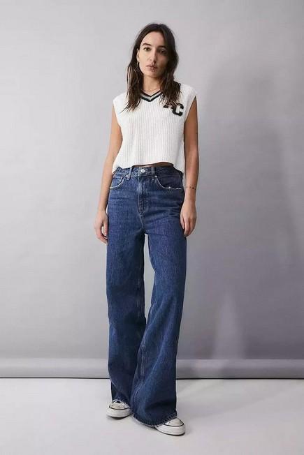 Urban Outfitters - Denim BDG Dark Vintage Wash Wide-Leg Puddle Jeans, Women