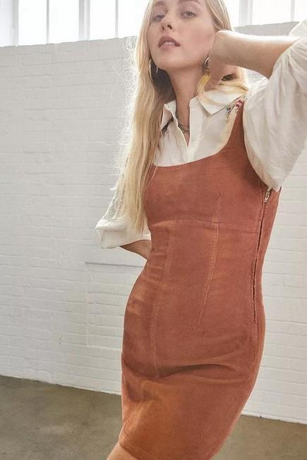 Urban Outfitters - Orange UO Corduroy Seamed Mini Dress, Women