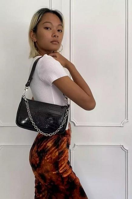 Urban Outfitters - Black UO Chain Accent Croc Shoulder Bag, Women
