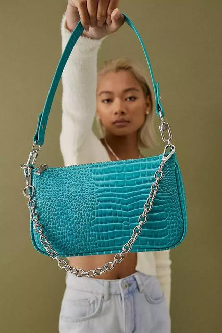 Urban Outfitters - Sapphire UO Chain Accent Croc Shoulder Bag, Women