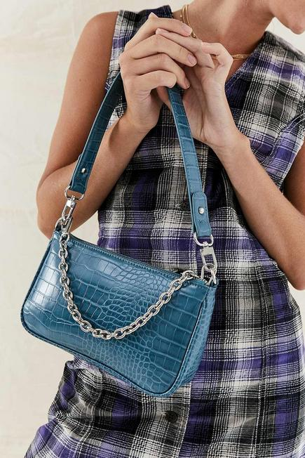 Urban Outfitters - Turquoise UO Chain Accent Croc Shoulder Bag, Women