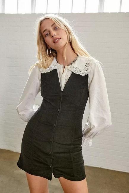 Urban Outfitters - Black UO Corduroy Pinafore Mini Dress, Women