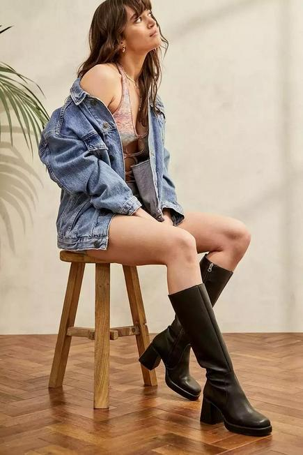 Urban Outfitters - Black/Brown UO Vix Knee High Boots, Women