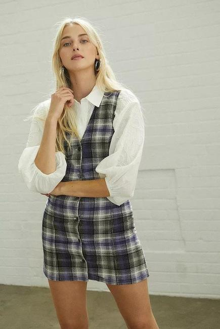 Urban Outfitters - Black Motif UO Checked Corduroy Pinafore Dress, Women