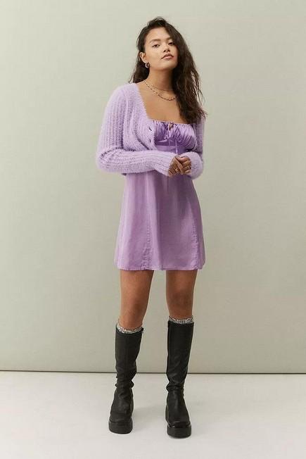 Urban Outfitters - Lilac UO Kamaryn Satin Slip Mini Dress, Women