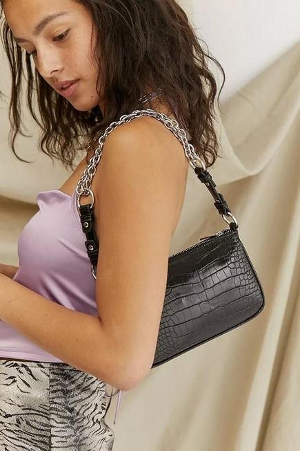Urban Outfitters - Black Ruth Chain Strap Croc Shoulder Bag, Women
