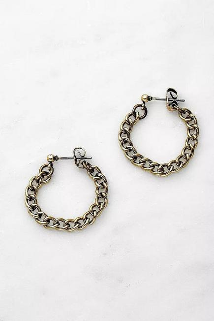 Urban Outfitters - Gold Statement Chain Drop Hoop Earrings, Women
