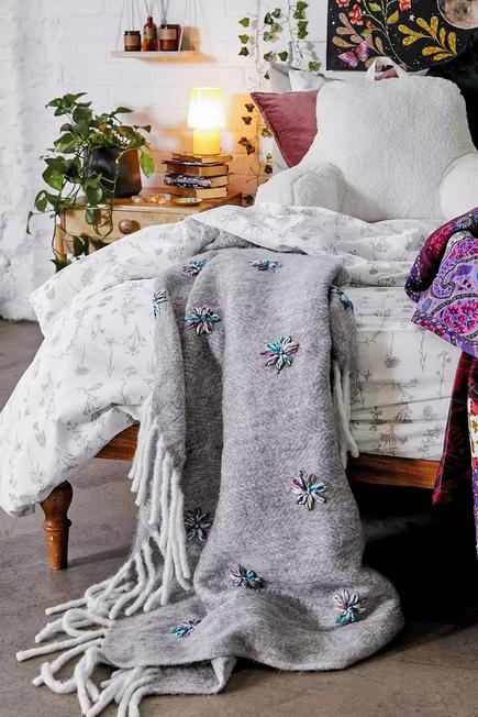 Urban Outfitters - Embellished Grey Throw Blanket