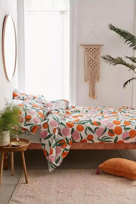Urban Outfitters - Assorted Large Peach Duvet Cover Set With Reusable Fabric Bag