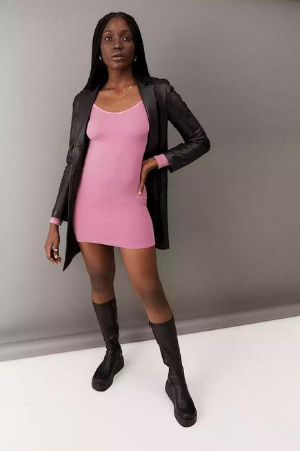 Urban Outfitters - Pink UO Long Sleeve Seamless Scoop Dress, Women