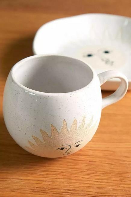Urban Outfitters - WHT Celestial Sun Face Mug