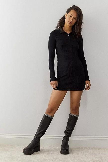 Urban Outfitters - Black iets frans... Long Sleeve Rib Polo Mini Dress, Women