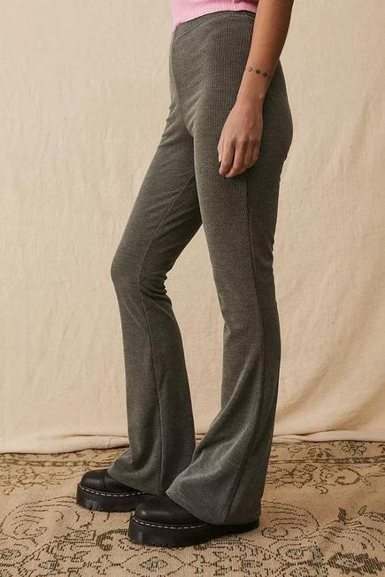 Urban Outfitters - Dark Grey UO Cosy Rib Flare Trousers, Women