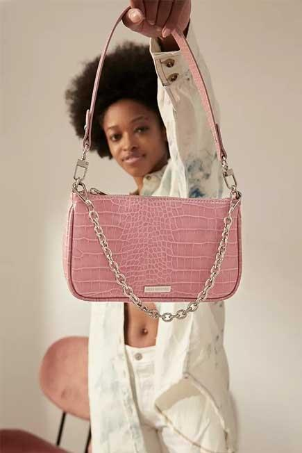 Urban Outfitters - Pink UO Plate And Chain Accent Croc Shoulder Bag, Women